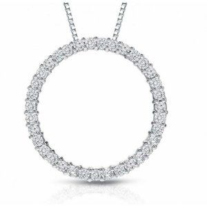 Jewelry - SPARKLING round diamond pendant solid white gold j